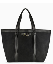NEW VICTORIA'S SECRET BLACK FRINGE TOTE HANDBAG BEACH BAG PURSE LARGE SPORT GYM