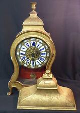 A 18ème superbe cartel pendule style louis XV  bois stuc émail 97cm 6Kg clock