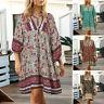 ZANZEA 8-24 Women Summer Mini Sundress Neck Tie Pullover Plus Size Floral Dress