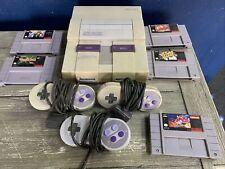 Super Nintendo SNES Console Bundle W/5 Games/Controllers