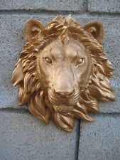GOLD SAFARI LION HEAD WALL MOUNT STATUE DECORATION CABIN LOG DECOR