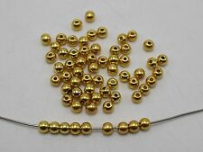 2000 Golden Tone Metallic Acrylic Smooth Round Beads 3mm Spacer Beads