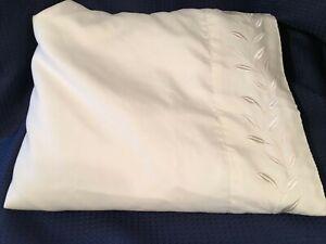Queen Flat Sheet Solid  Ivory, 100% Polyester, Embroidered Leaf Design on Hem