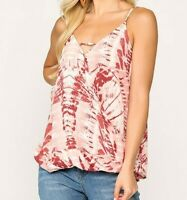 New Gigio By Umgee Tank Top M Medium Tie Dye Coral Surplice Boho Peasant Hippie