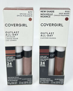 (Pack of 2) Covergirl Outlast All-Day Lip color w/Topcoat Deep Warm/Spiced Latte