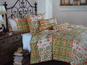 TRADEWINDS SIESTA TROPICAL Green Coral FLORAL Patchwork Full QUEEN QUILT SET 3PC