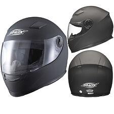 Shox Sniper Solid Matt Black Motorcycle Helmet Full Face Scooter Crash Motorbike