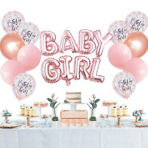 Baby Shower Party Decoration BABY GIRL Foil Balloon Set rose gold pink balloons
