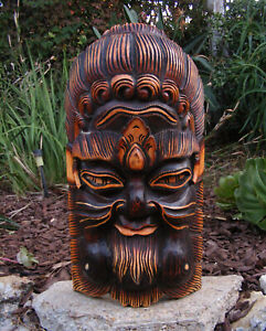 "Bali Tribal Green Man Wood Leaf Mythological Mask Wall Decor 20"" x 10"" - #3"