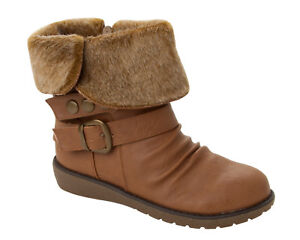 WOMENS TAN SLOUCH FAUX FUR CUFF LOW WEDGE ANKLE RIDING BOOTS LADIES UK SIZE 3-8