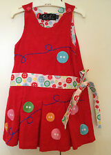 OOBI Girls Red Corduroy Sleeveless Pinafore Dress Button Appliqué 1/2 years