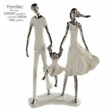79804 Sculpture Family Poly White Silver on Base Height 31CM