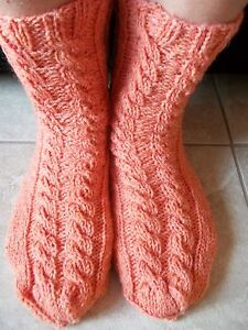 Hand knitted wool blend  socks with cable pattern, soft orange