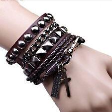 Coffee Fashion 1set Punk Multi-layer PU Leather Cuff Bracelet Wristband for Men