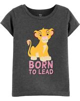 Carter's Girls Disney Lion King Born To Lead Tee T-Shirt Short Sleeves Gray 5T