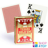 COPAG TEXAS HOLD'EM RED 100% PLASTIC JUMBO INDEX POKER CARDS CASINO DECK NEW