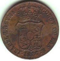 Monete 3 Quarti Isabel II - Anno 1837 - Catalogna - Barcellona