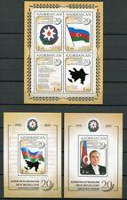 Aserbaidschan Azerbaijan 2011 Unabhängigkeit Flagge Hymne Flag Block 102-104 MNH