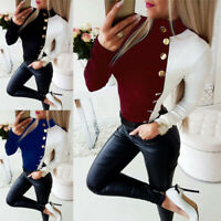 Blouse Tops Shirt Ladies Turtleneck Long T Casual Buttons Sleeve Slim Fit Womens