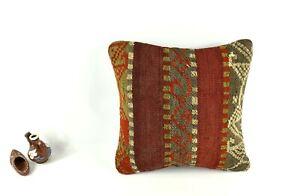 Kilim Pillow Cover 14x14 Vintage Home Decorative Sofa Couch Cushion A2459