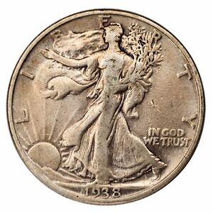 1938-D Silver Walking Liberty Half Dollar 50C (Fine, F Condition)
