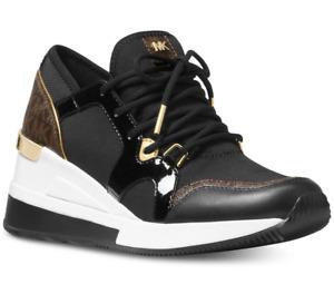 NIB Size 10 Michael Kors Liv Logo Trainer Tech Canvas Sneakers Black Multi