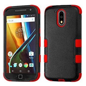 For Motorola Moto G4 / G4 PLUS - HARD & SOFT RUBBER HYBRID CASE RED BLACK ARMOR