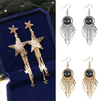 Elegant Women Pentagram Star Stud Earrings Long Tassel Dangle Jewelry Gift New