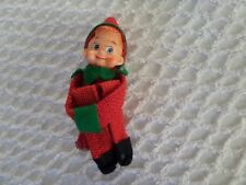 Vtg Burlap Knee Hugger Christmas Elf Red Sitting 6""