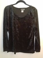 Special Preview Black Long Sleeve Texture Blouse Size L