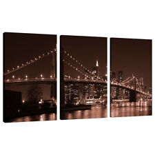 3 Panel marrón Pared Arte New York City Lona Fotos Nyc puentes 3122