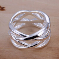New Women 925 Sterling Silver Filled Net Filigree Fashion Solid Ring Size 6 -10