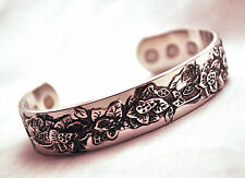 """LADIES 6.75 """" 100% COPPER SILVER BLOSSOMS MAGNETIC THERAPY BANGLE / CUFF 4 Pain!"""