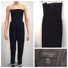 TOPSHOP Ladies Black Bandeau Tailored Jumpsuit Size Uk 8