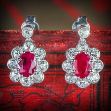 Ruby Diamond Cluster Earrings 18ct White Gold
