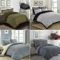 Luxury 100% Cotton Woven Duvet Quilt Cover Bedding Set Single Double Super King