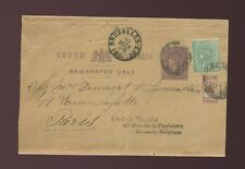 AUSTRALIA SA NEWSPAPER WRAPPER 1/2d UPRATED 1d + BANTAM to BELGIUM + FRANCE 1894