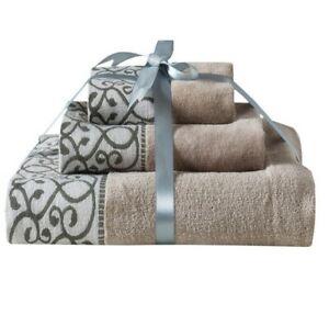 3Pcs Towel Set Hand Bath Face Towels Grey Luxury 100% Pure Egyptian Cotton