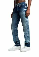 True Religion GENO SLIM BIG T W34 L34 RRP £200 Mens Acid Wash Blue Denim Jeans