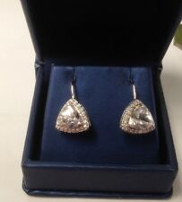 WHITE DANBURITE TRILLION CUT EARRINGS IN 10KT WHITE GOLD