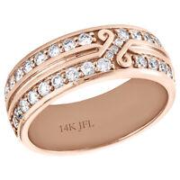 14K Rose Gold Mens Round Diamond Eternity Wedding Band 8mm Infinity Ring 1.74 CT