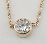 14K Yellow Gold Diamond Pendant Necklace .10 CTW Round Cut I/J Color I1 Clarity