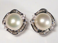 12.3mm South Sea white pearl earrings, diamonds, solid 14k white gold.