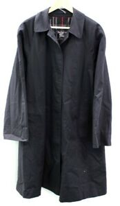 Ladies BURBERRYS BURBERRY Vintage Navy Polyester Blend Button Up Coat UK 12 W53