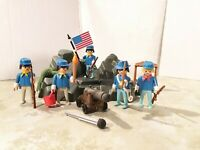 Playmobil 5 Figuren Western Soldaten Nordstaaten Blauröcke Artillerie Felsen