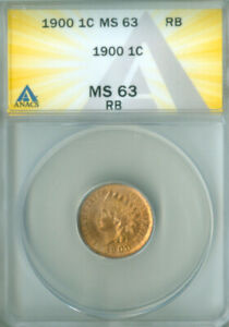 1900 INDIAN CENT ANACS MS-63RB FREE S/H (2026207)