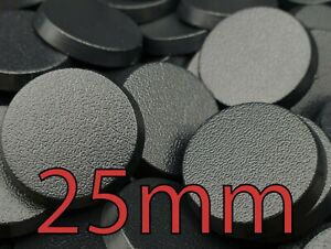 25mm Round Plain Wargaming Plastic Bases Warhammer Brand New Wargames