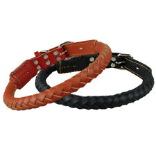 Braided Leather Dog Collars Durable for Medium Large Dogs Rolled Collars Black