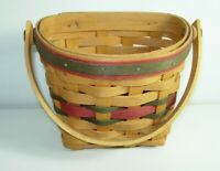 """Longaberger Basket 1998 Small Wall Hanging 8"""" maple wood red green christmas"""