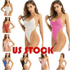 US Womens One-piece Mesh Bodysuit See Through Lingerie High-cut Leotard Swimwear